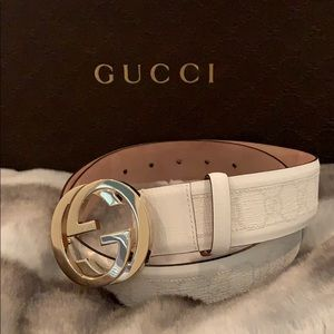 6a2714349 Gucci 100 % Authentic White Leather Belt